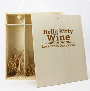 Personalised 3 Bottle Hello Kitty Wooden Wine Gift Box (Choose your Own Design)