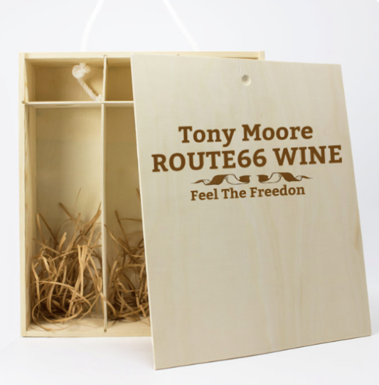 Personalised 3 Bottles Route66 Wooden Wine Gift Box (Choose your Own Design)