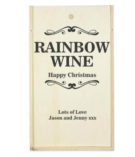 Personalised 2 Bottle Rainbow Collection Wooden Wine Box (Choose Your Own Design)