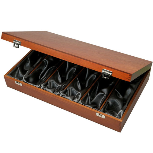 6 Bottle Luxury Wooden Box - Hinged with Silk Lining