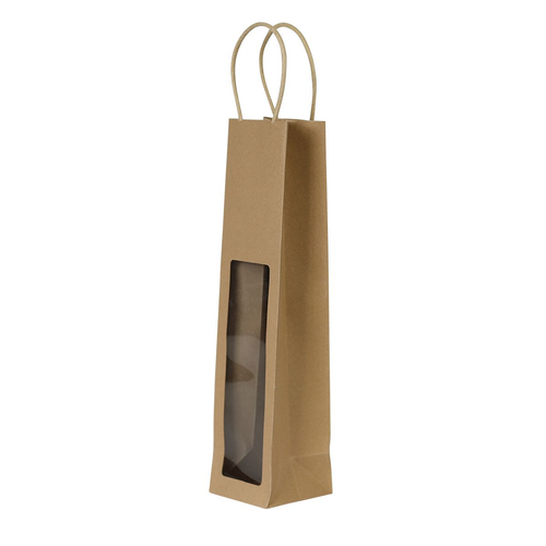 1 Bottle Wine Kraft Bag with Window