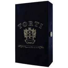 Load image into Gallery viewer, Wooden Traditional TORTI Branded Gift Box for 2 Bottles