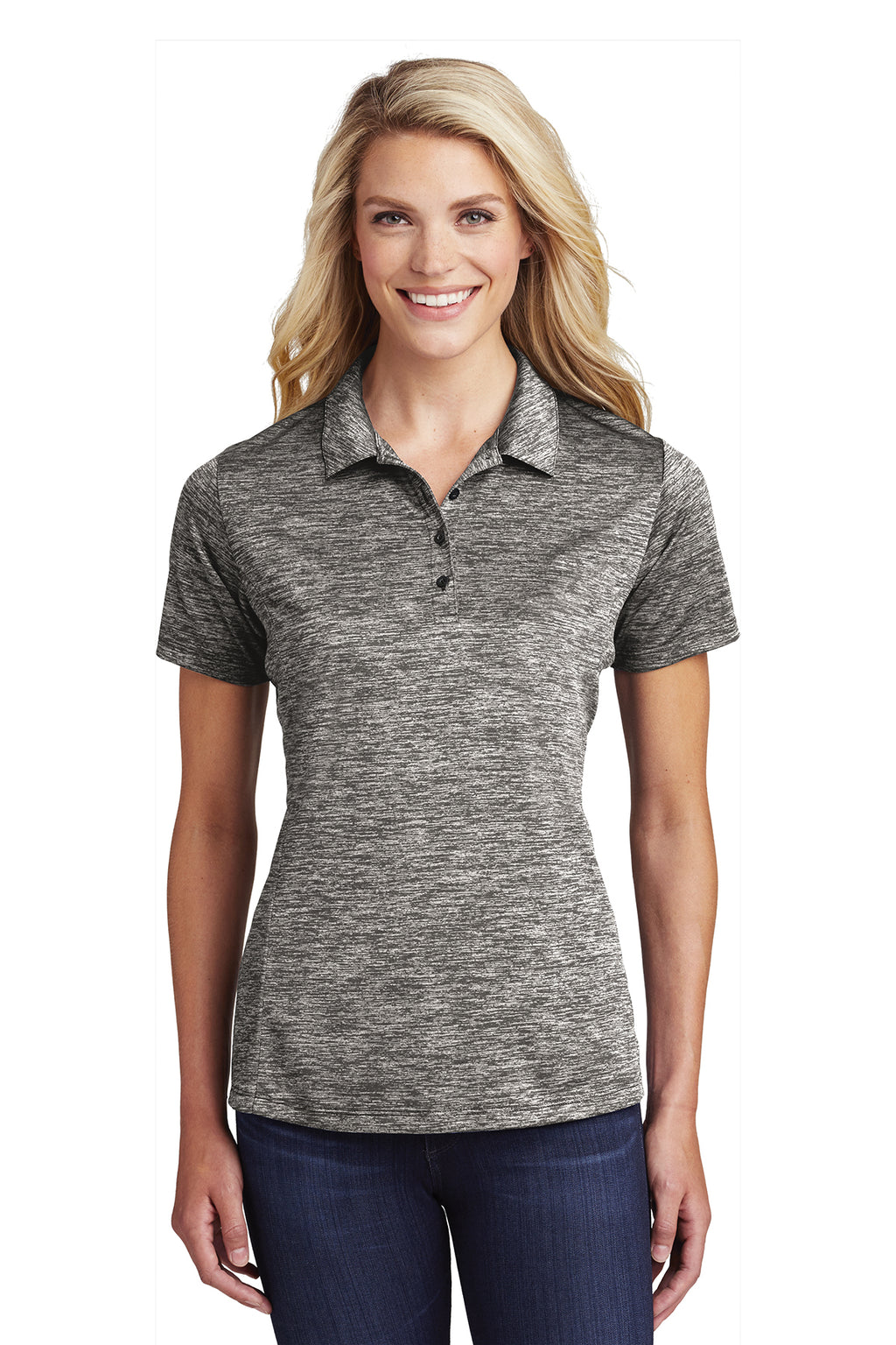 Sport-Tek Ladies PosiCharge Electric Heather Polo