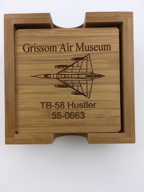 Sample coaster set. This one designed for the Grissom Air Museum. We can design these sets to meet your needs.