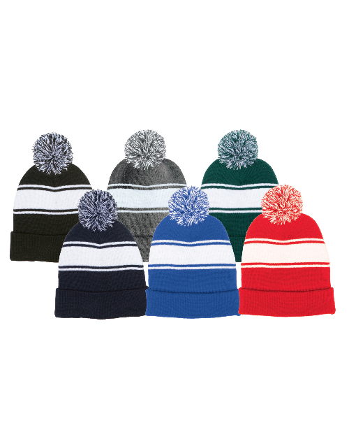 Eastern Comets Embroidered Pom Pom Striped Beanie