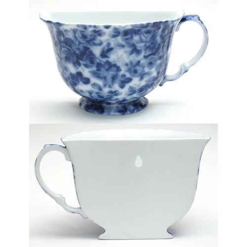 Porcelain Tea Cup Wall Pocket - Blue Floral