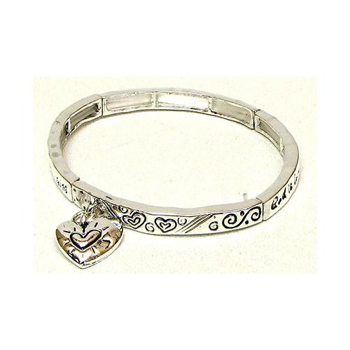 Stackable Stretch Bangle Heart Charm
