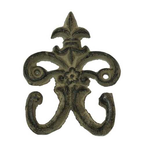 Cast Iron Fleur De Lis Double Hooks Set of 6