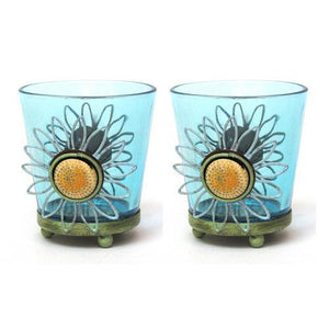 Round Blue Glass Votive Holder Set of Two