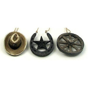 Western Ornament Set of 3, Hat, Wheel, Star