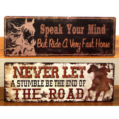 Vintage Tin Cowboy Sign Set of 2
