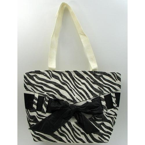 Zebra Print Straw Bag
