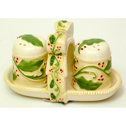 Elegant Holly Salt & Pepper with Rack 3pc Set