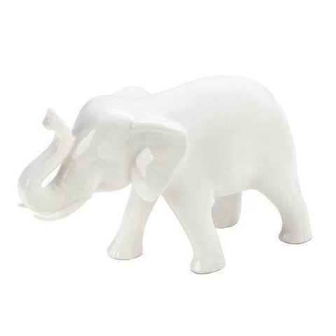 Small White Ceramic Elephant (pack of 1 EA)