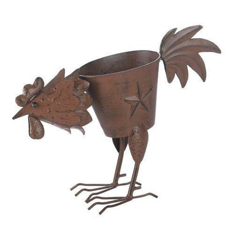 Rooster Planter With 1 Solid Feather (pack of 1 EA)