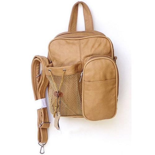 Genuine Leather Backpack-Style Cross-Body Bag