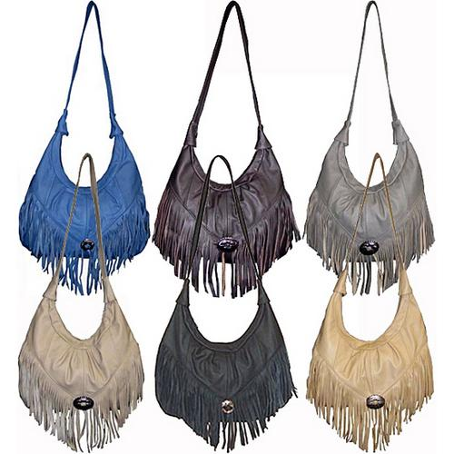 Large Soft Leather Hobo With Fringe