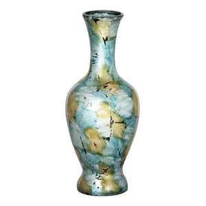 "8'.25"" X 8'.25"" X 20"" Mint And Gold W/ Black Show-Through Ceramic Foiled & Lacquered Ceramic Vase"