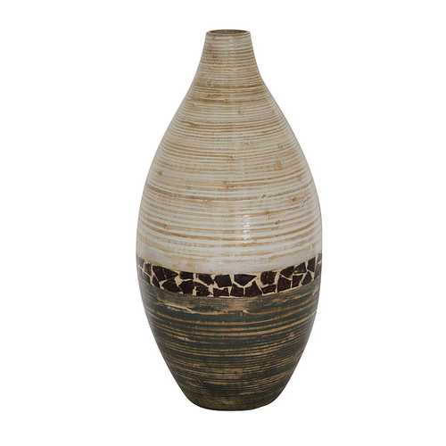"10"" X 10"" X 20"" White And Gray W/ Coconut Shell Bamboo Spun Bamboo Vase"