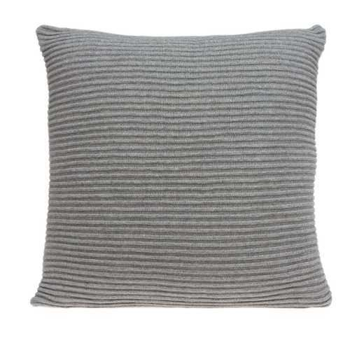 "20"" x 7"" x 20"" Elegant Transitional Gray Pillow Cover With Poly Insert"