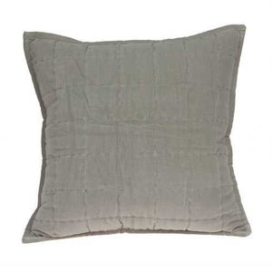 "20"" x 7"" x 20"" Transitional Gray Solid Quilted Pillow Cover With Poly Insert"