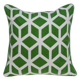 "20"" x 7"" x 20"" Transitional Green and White Pillow Cover With Poly Insert"
