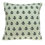 "20"" x 7"" x 20"" Nautical Blue Accent Pillow Cover With Down Insert"