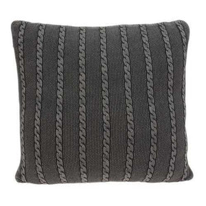 "18"" x 5"" x 18"" Transitional Charcoal Pillow Cover With Down Insert"