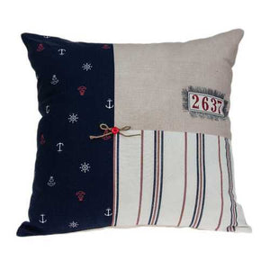 "20"" x 7"" x 20"" Nautical Multicolor Pillow Cover With Down Insert"