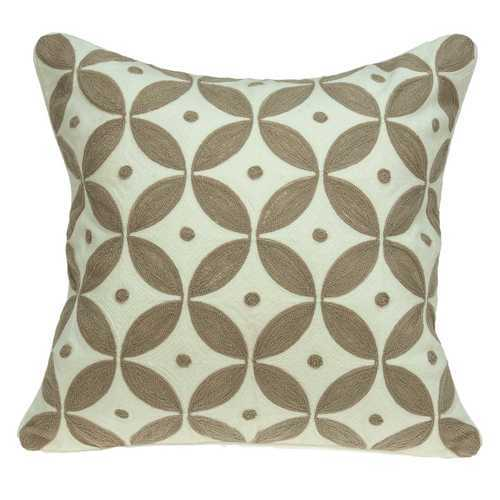 "20"" x 7"" x 20"" Transitional Beige and White Accent Pillow Cover With Down Insert"