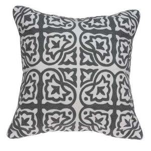 "20"" x 7"" x 20"" Traditional Gray and White Pillow Cover With Down Insert"