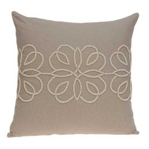 "20"" x 7"" x 20"" Cool Transitional Tan Cotton Accent Pillow Cover With Down Insert"