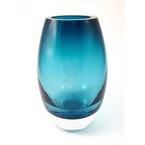 "9"" Mouth Blown Crystal Peacock Blue Crystal Vase"