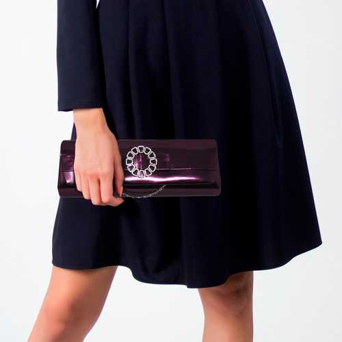 Purple Rhinestone Centerpiece Clutch