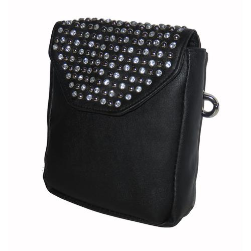 Black Leather Studded Clip Pouch w/Detachable Strap