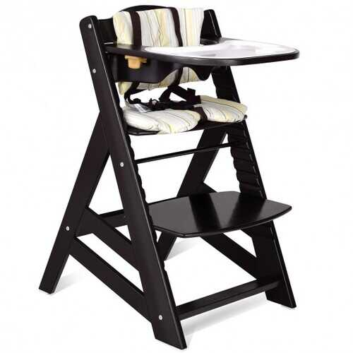 Adjustable Height Wooden Baby High Chair with Removeable Tray