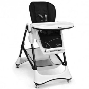 A-Shaped High Chair with 4 Lockable Wheels-Black