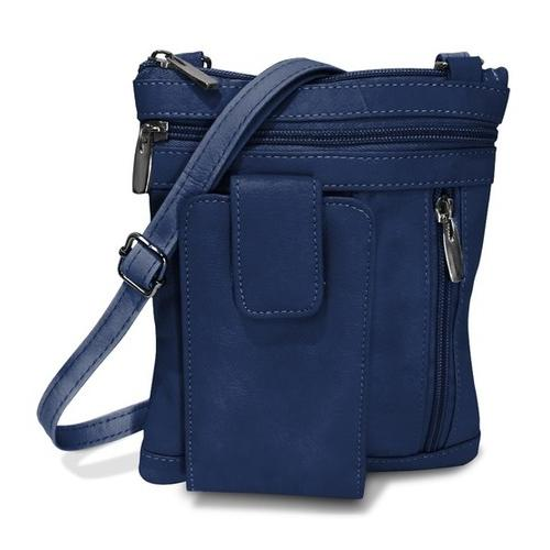 On The Go AFONiE Genuine Leather Messenger Bag-Navy Blue Color