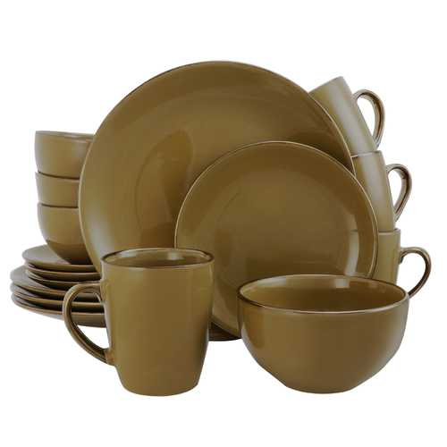 Elama Bristol Grand 16-Piece Dinnerware Set, Warm Taupe