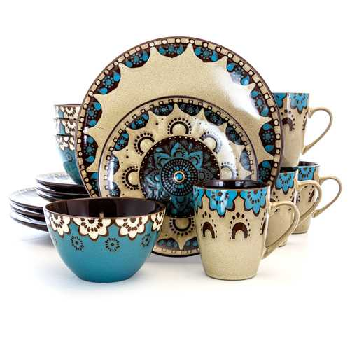 Elama Clay Heart 16 Piece Luxurious Stoneware Dinnerware with Complete Setting for 4, 16pc