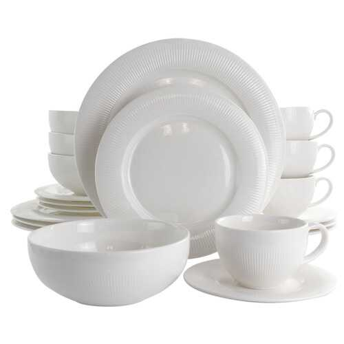 Elama Pallene 20 Piece Porcelain Dinnerware Set in White
