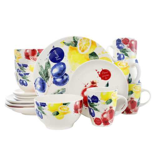 Elama's Tuscan Amore 16 Piece Luxury Dinnerware Set with Complete Place Settings for 4
