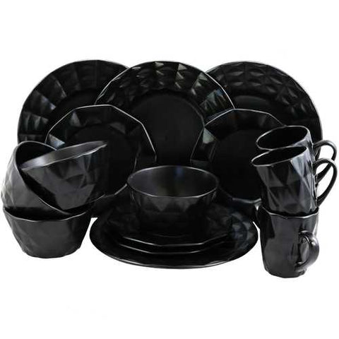 Elama Retro Chic 16-Piece Glazed Dinnerware Set in Black