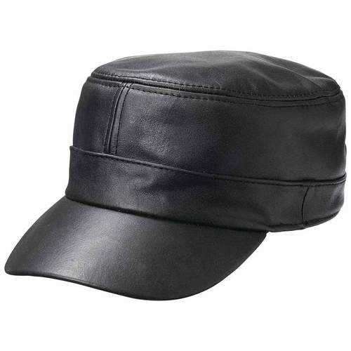 Solid Genuine Lambskin Leather Cap