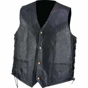 Hand-Sewn Pebble Grain Genuine Leather Vest