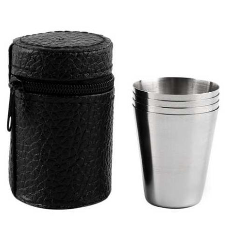 4 Pieces 70ML Stainless Steel Cup With Barrel Faux Leather Bag