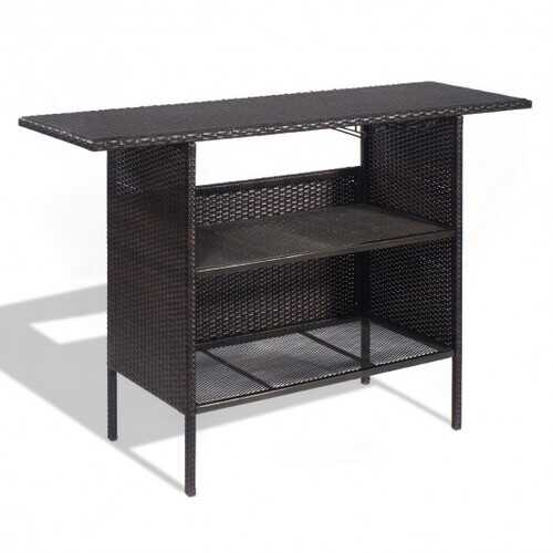 Outdoor Patio Rattan Bar Counter Table