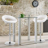 Set of 2 Bar Stools Adjustable PU Leather Swivel Chairs-White