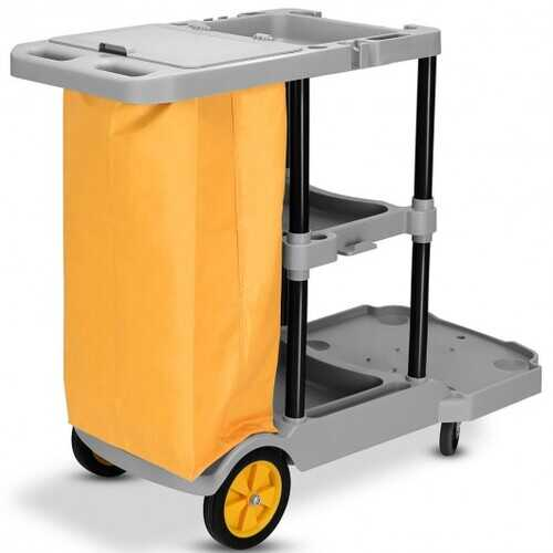 Commercial Janitorial Cleaning Cart 3 Shelf Housekeeping Ultility Cart