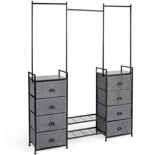 8 Drawer Fabric Dresser with Rack Multifunctional Storage Tower Metal